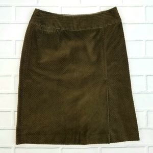 Ann Taylor Olive Corduroy Pencil Skirt